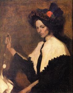 William James Glackens - Ragazza con Bianco collo sciallato