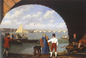 Jacques Laurent Agasse - Atterraggio a westminster Ponte