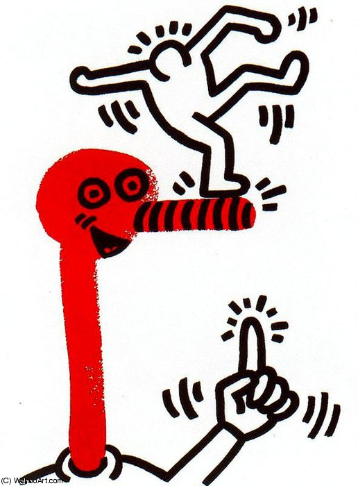 famous painting senza titolo 573   of Keith Haring