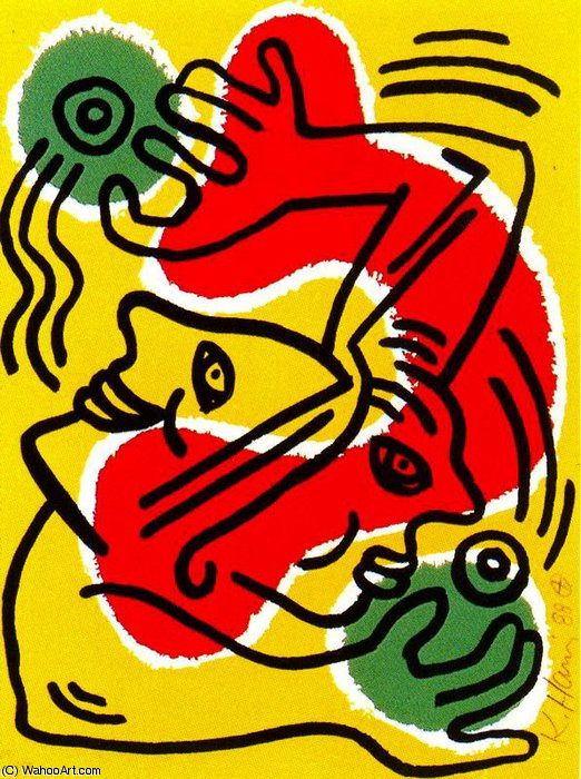 famous painting senza titolo 601   of Keith Haring