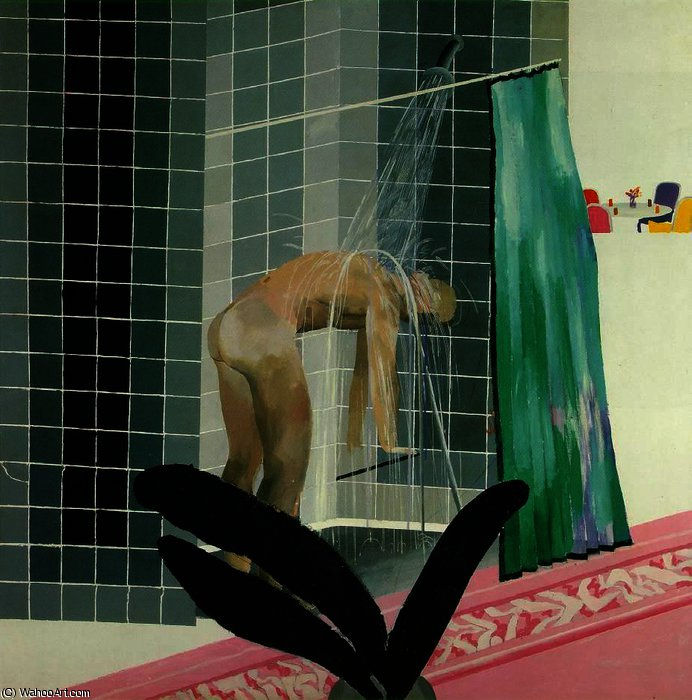 famous painting L uomo prendendo doccia a beverly Colline of David Hockney